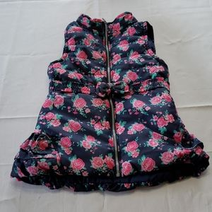 EUC Toddlers Vest Pink Rose's Bow Zip Up Size 6